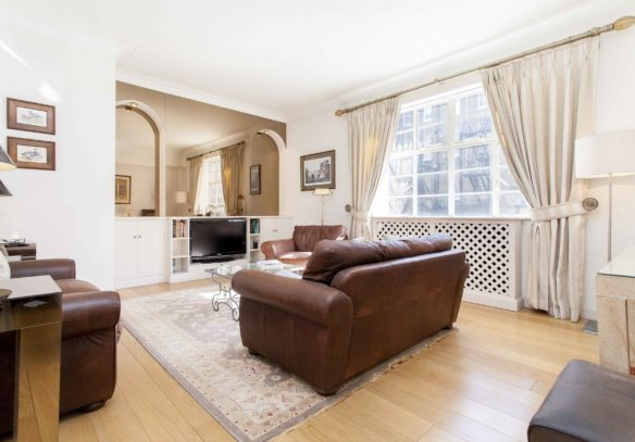 Reeves Mews apartment for sale, living room with window at rear