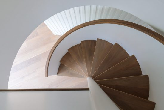 looking down the spiral staircase at bankside lofts