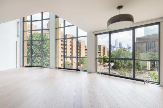 huge windows at second floor apartment in bankside lofts