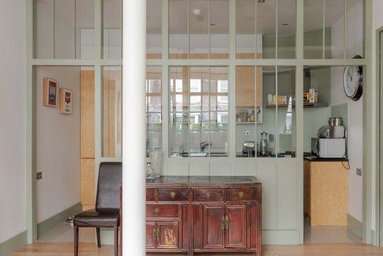 kean street wc2 glass wall by kitchen