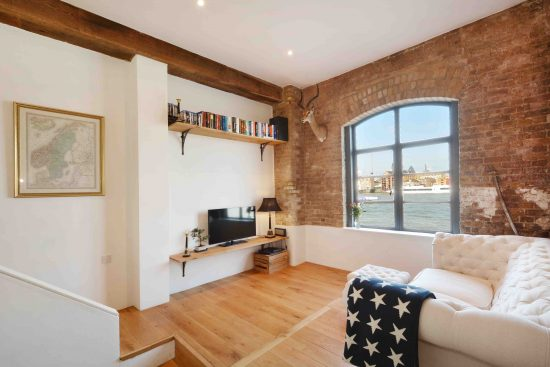 riverside-loft-rotherhithe-street-SE16-living-room-warehouse-view