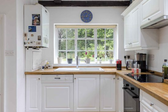 view from kitchen to garden at the salt box kt7